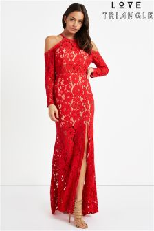 Love Triangle Cold Shoulder Lace Maxi Dress