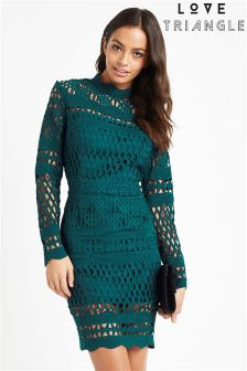 Love Triangle Net Lace Midi Dress