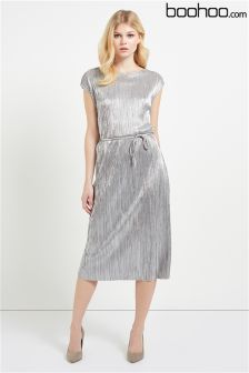 Boohoo Metallic Pleated Midi Dress