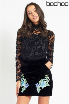 Boohoo Embroidered A line Skirt