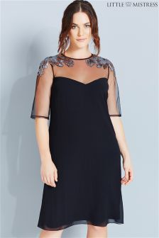 Little Mistress Curve Mesh And Sequin Shift Dress