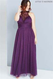 Little Mistress Curve Embroidery Trim Maxi Dress