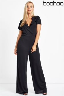 Boohoo Plus Frill Shoulder Jumpsuit