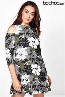 Boohoo Plus Printed Cold Shoulder Swing Dress
