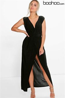 Boohoo Plus Plunge Detail Maxi Dress