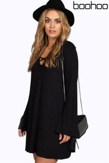 Boohoo Plus Cross Front Shift Dress