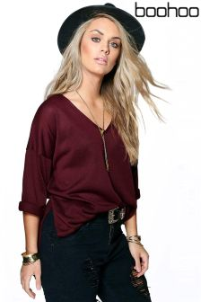 Boohoo Plus V Neck Split Side Jumper