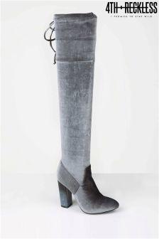 4th & Reckless Velvet Smoke Heel Boots