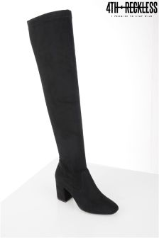 4th & Reckless Faux Suede Block Heel Boots