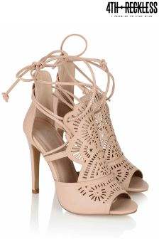4th & Reckless Laser Cut Lace Up Heels