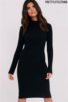 PrettyLittleThing Roll Neck Soft Ribbed Midi Dress