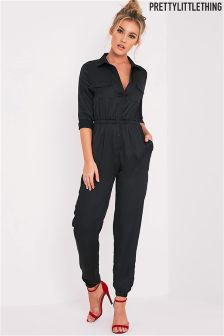 PrettyLittleThing Embroidered Detail Silky Jumpsuit