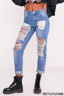 PrettyLittleThing Extreme Rip Boyfriend Jeans