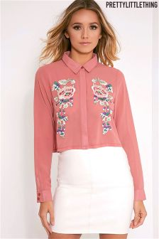 PrettyLittleThing Embroidered Cropped Shirt