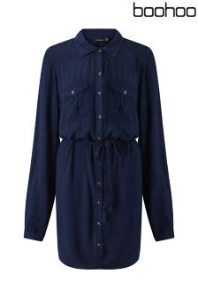 Boohoo Petite Denim Tie Waist Shirt Dress