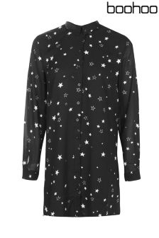 Boohoo Petite Star Print Shirt Dress