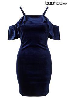 Boohoo Petite Bardot Velvet Frill Dress