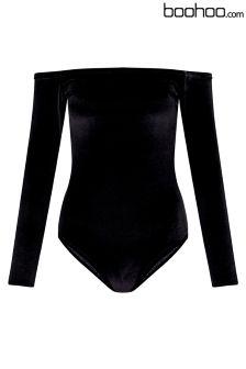 Boohoo Petite Velvet Bardot Bodysuit