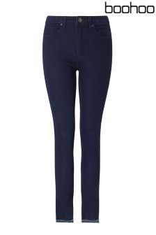 Boohoo Petite Step Denim Blue Jeans