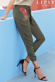 Lipsy Satin Embroidered Trousers