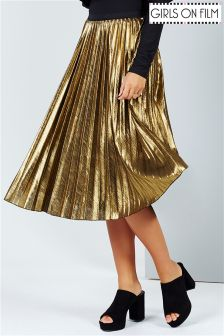 Girls On Film Metallic Pleated Midi Skirt