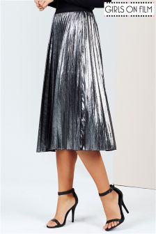 Girls On Film Metallic Midi Pleated Skirt
