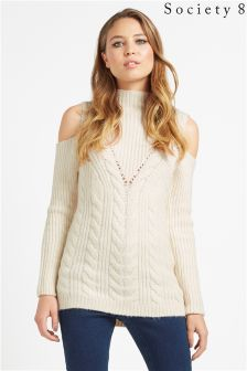 Society 8 Cold Shoulder High Neck Jumper