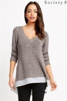 Society 8 Metallic 2 In 1 Slouchy Jumper