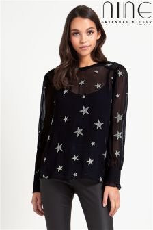 Nine By Savannah Miller All Over Star Embroidered Shirt