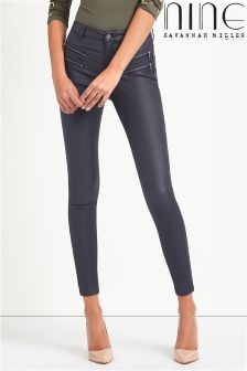 Nine By Savannah Miller High Waisted Super Skinny Coated Jean