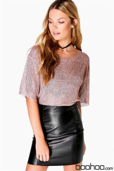 Boohoo Metallic Scoop Neck Knitted Top