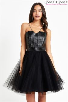 Jones + Jones Studded PU Tutu Dress