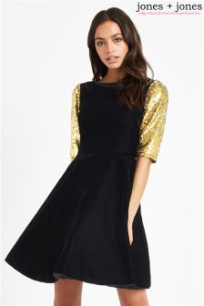 Jones + Jones Gold Sequin Sleeved Dress