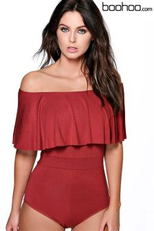 Boohoo Off The Shoulder Ruffle Bodysuit