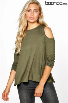 Boohoo Open Shoulder Wrap Back T-shirt