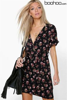 Boohoo Floral Batwing Wrap Tie Waist Dress