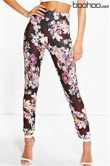 Boohoo Dark Floral Stretch Skinny Trousers