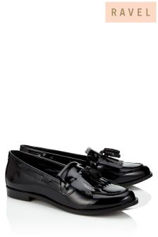 Ravel Black Leather Loafers