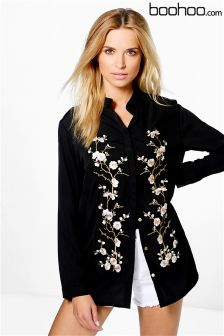Boohoo Embroidered Front Shirt