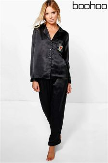 Boohoo Embroidered Satin Shirt And Trouser Set