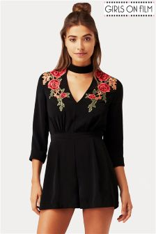 Girls On Film Embroidered Playsuit