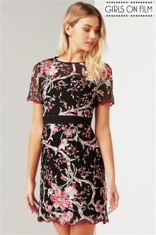 Girls On Film All Over Embroidered Dress