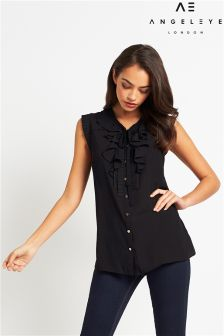 Angeleye Tie Neck Ruffle Blouse