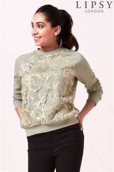 Lipsy Embellished Crew Neck Sweatshirt