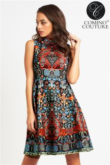 Comino Couture Folk Print & Embellishment Skater Dress