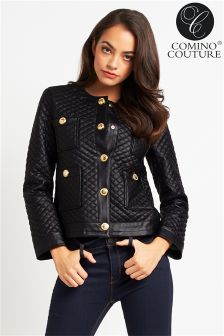 Comino Couture PU Quilted Leather Jacket