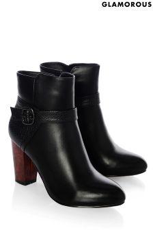 Glamorous Tortoise Shell Heel Buckle Ankle Boots