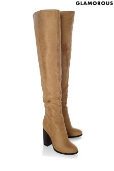 Glamorous Ruched Knee Boots