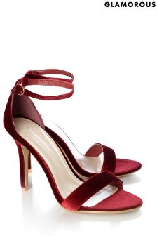 Glamorous Barely There Velvet Sandals