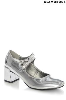 Glamorous Low Heel Metallic Court Shoes